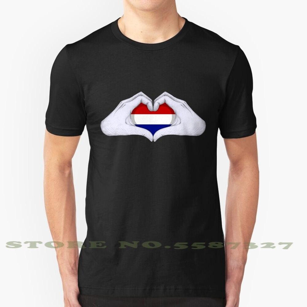 A holanda gráfico personalizado engraçado venda quente tshirt esc eurosong euro mãos coração amor bandeira holanda nederland holanda fifa