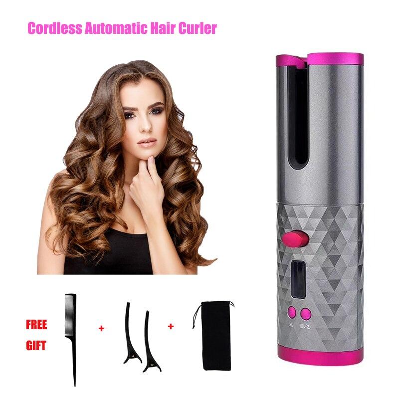 Rizador de pelo inalámbrico automático, rizador de cerámica inalámbrico portátil recargable por USB, herramientas de estilismo de rotación automática