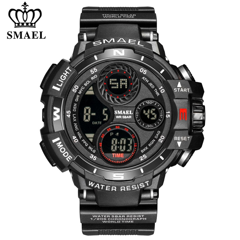 ohsen brand mens boys digital sports watches waterproof rubber band wristwatch led colorful backlight red army kids watch gift SMAEL Brand Sports Watch Men LED Digital Waterproof Silicone Wristwatch Top Luxury Army Outdoor Mens Watches Relogio Masculino