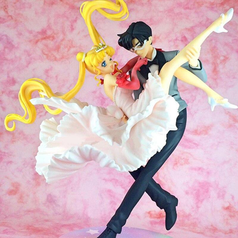 Chouette sailor moon & chiba mamoru mascarado bola figura figura de ação pvc coleção modelo brinquedos boneca presente 25cm