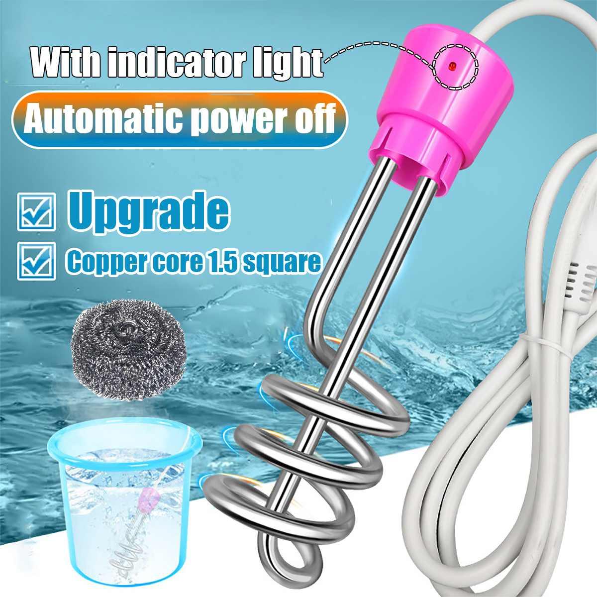 Электрический водонагреватель 3000 Вт/2500 Вт/2000 Вт, портативный мини-бойлер для горячей воды, автоматические погружные обогреватели для телеф...