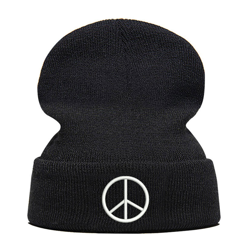 Gorro de lana de invierno de alta calidad bordado con Logo de la paz gorro de punto elástico Unisex gorro de hip-hop negro Dropshipping
