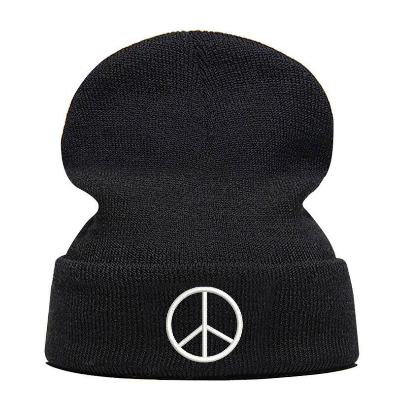 Bonnet unisexe élastique   Bonnet dhiver de haute qualité, bonnet brodé, Logo Peace, bonnet de tricot noir Hip-hop livraison directe