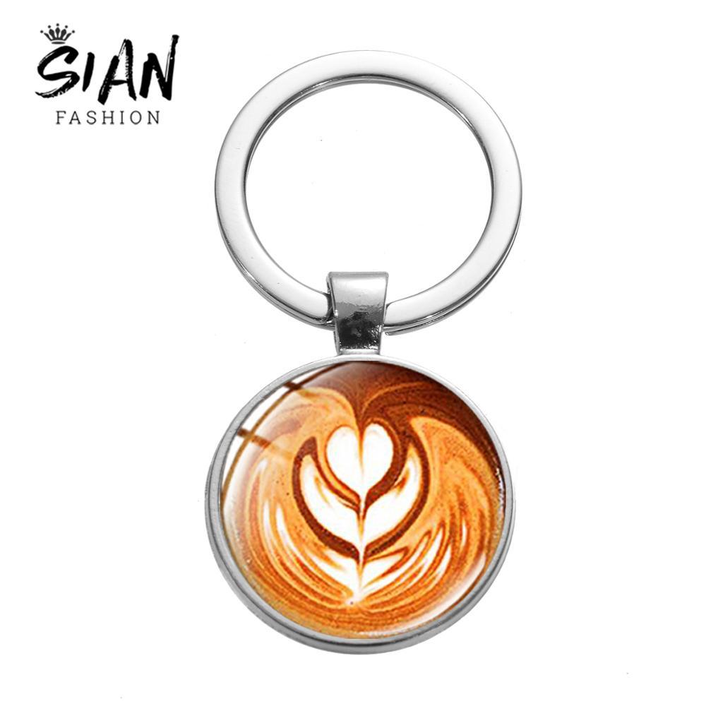 SIAN kreatywna kawa Latte Pull kwiat brelok kot słoń miłość serce rzeźba zdjęcie piękny klucz pierścień szklana okrągła kopuła Chaveiro