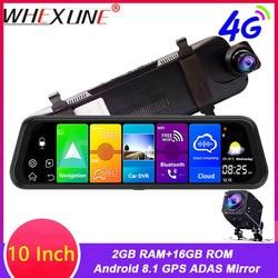 """Whexune 10 """"espelho retrovisor 4g android 8.1 traço câmera 2 gb ram 32 gb rom gps navegação gravador de vídeo do carro adas wifi visão noturna"""