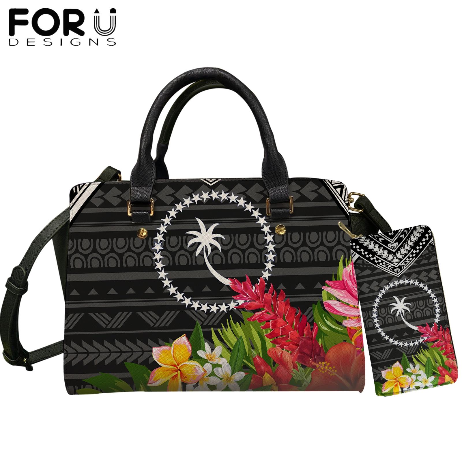 Bolsas de Design de Marca de Luxo para as Mulheres Bolsa de Ombro Forudesigns Chuuk Polinésia Tribal Padrão Casual Couro Mochila & Bolsa Conjunto