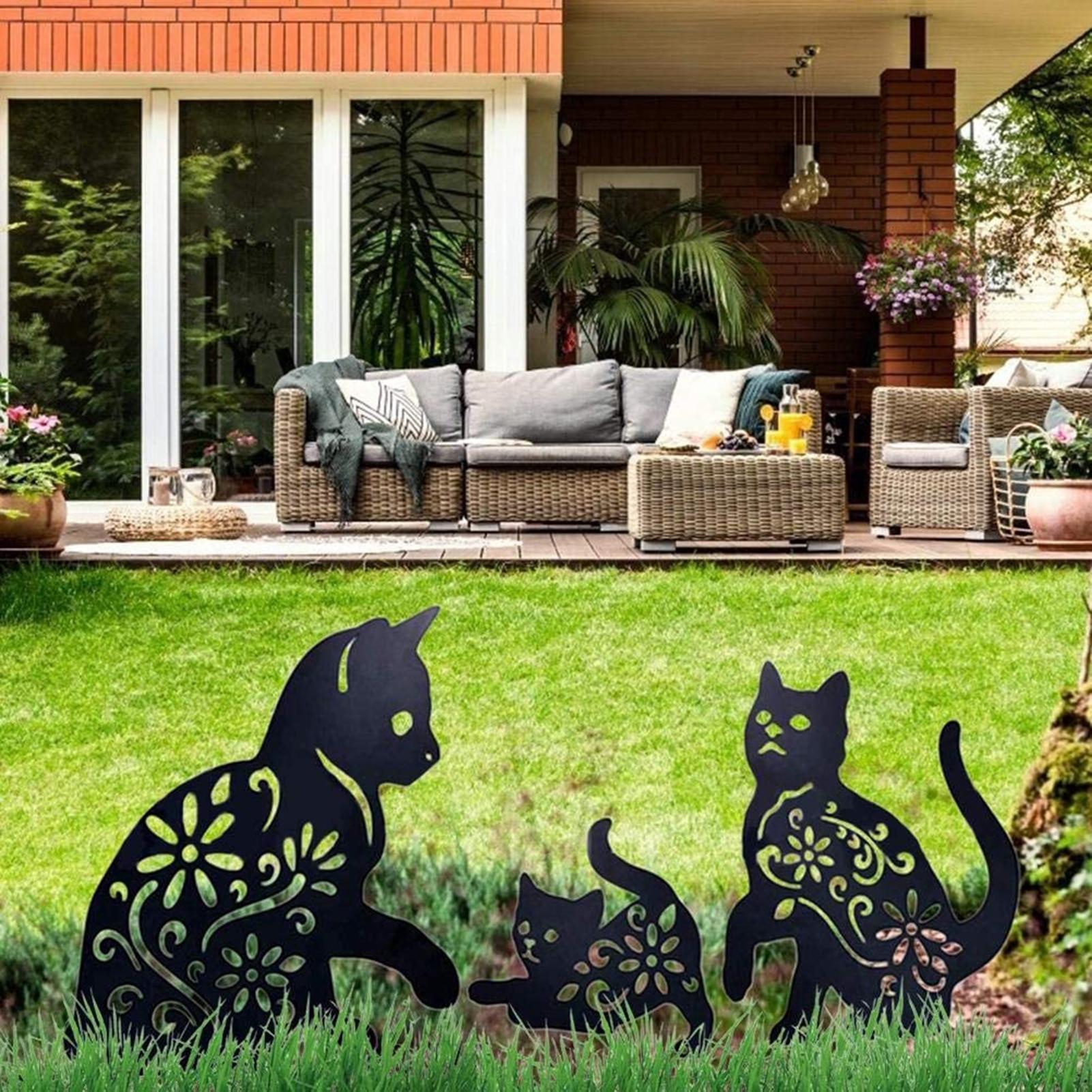 2D القط الشكل إدراج الأرض ديكور الجوف نابض بالحياة هريرة معدنية تمثال الوتد للخارجية حديقة مانور الحديقة السوداء I88