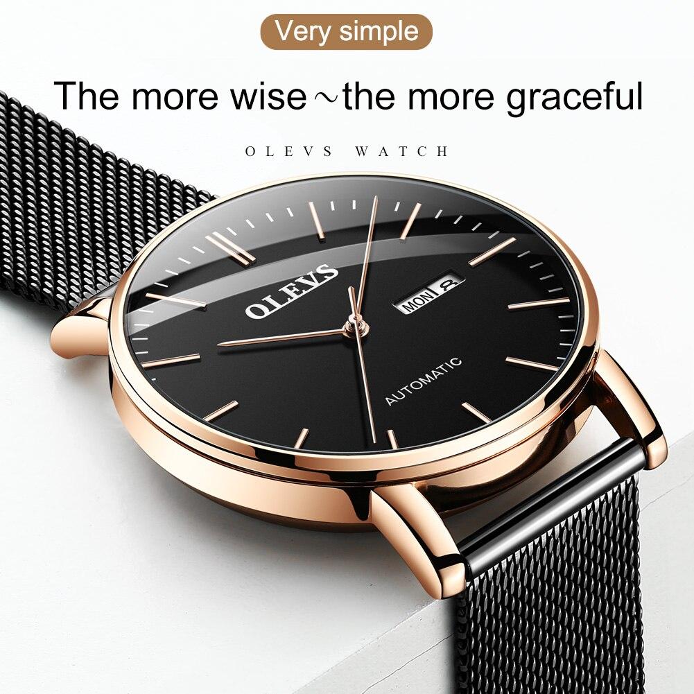 Relógios de Luxo é o Melhor Olevs Simples Novos Relógios Masculinos Mecânicos Japão Homem Tag Hueur Relógio Masculino 2021