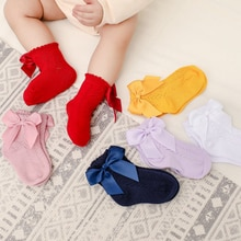 2021 New Spring And Summer Children's Socks Bow Hollow Dress Soft Socks European and American Style