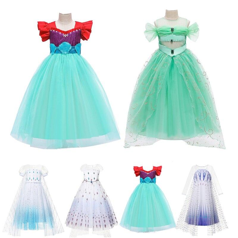 Vestido de sirena Elsa, Anna, Princesa de Aladdin, disfraz de arena, disfraz de sirena, fiesta, vestido de Halloween