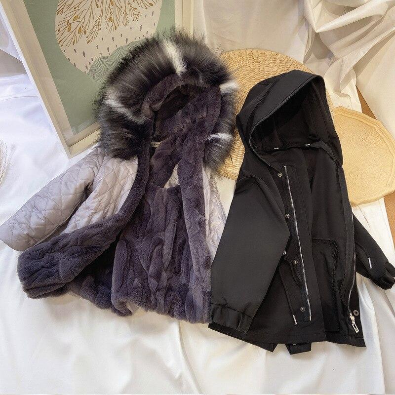 Kids Warm Padded Down Coat 2021 New Children Girls Down Coat Cotton Parka Imitation Fox Fur Removable Hoodie Warm Jackets enlarge