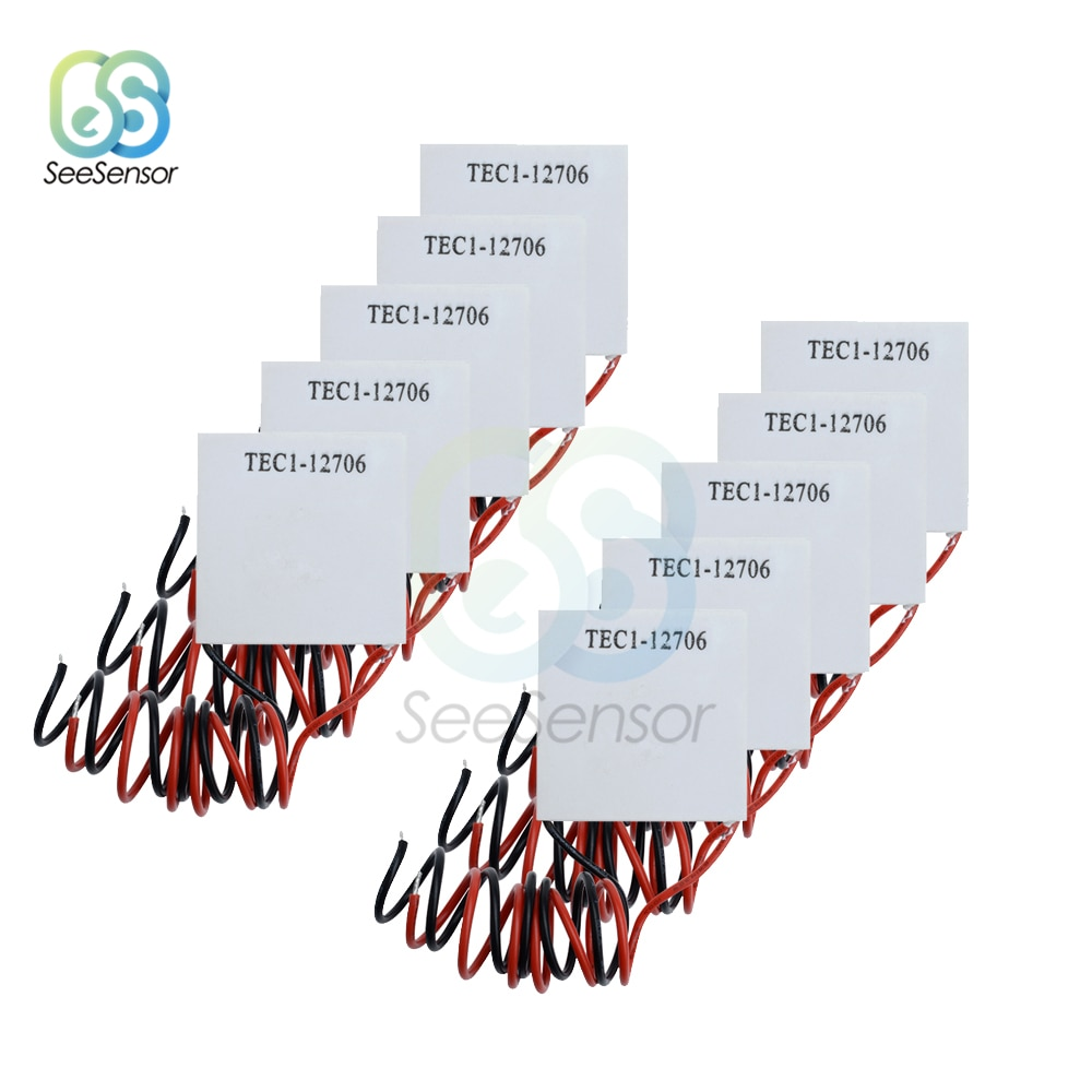 thermoelectric power generation sheet tep1 142t300 300 degrees high temperature 40 40 power seebeck thermoelectric film 10pcs/lot TEC1-12706 TEC1 12706 12V 6A TEC Thermoelectric Cooler Peltier 40*40MM Peltier Elemente Module
