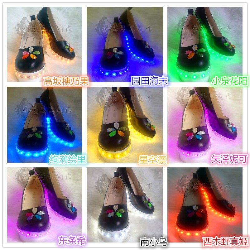 2020 أنيمي تأثيري الحب لايف سايبر حذاء لعبة الصحوة التسلق مينامي نيكو توجو جميع عضو LED تأثيري أحذية شحن مجاني