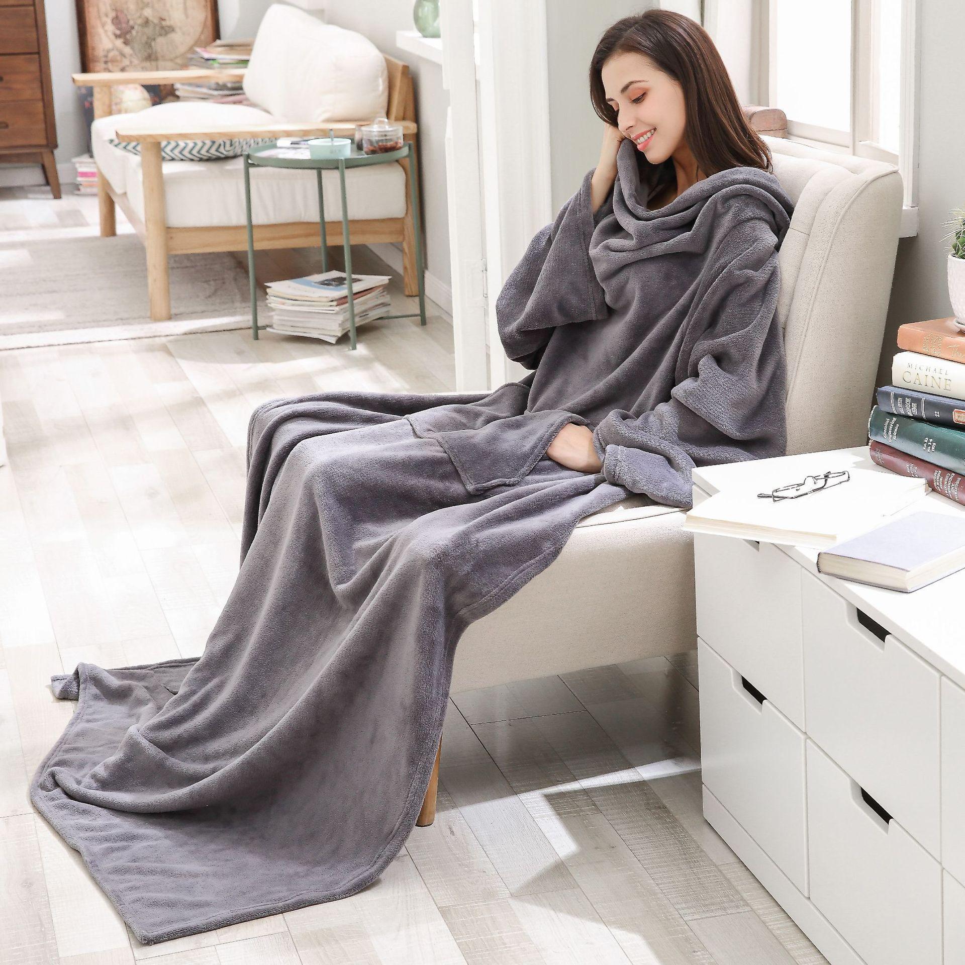 Cobertor longo quente super macio do velo com luvas casa velo coral cobertor de bolso adulto inverno lavagem flanela robe pele-friendly