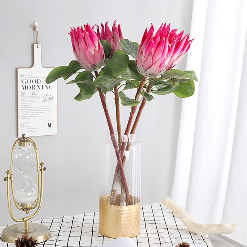 6 unids/lote hermoso Artificial Protea Cynaroides flores de seda para casa decoración de la boda de exhibición de la tienda de flores