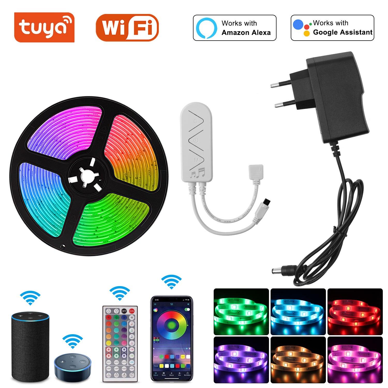 Tira de luces LED Rgb con Control por voz, cinta luminosa inteligente...