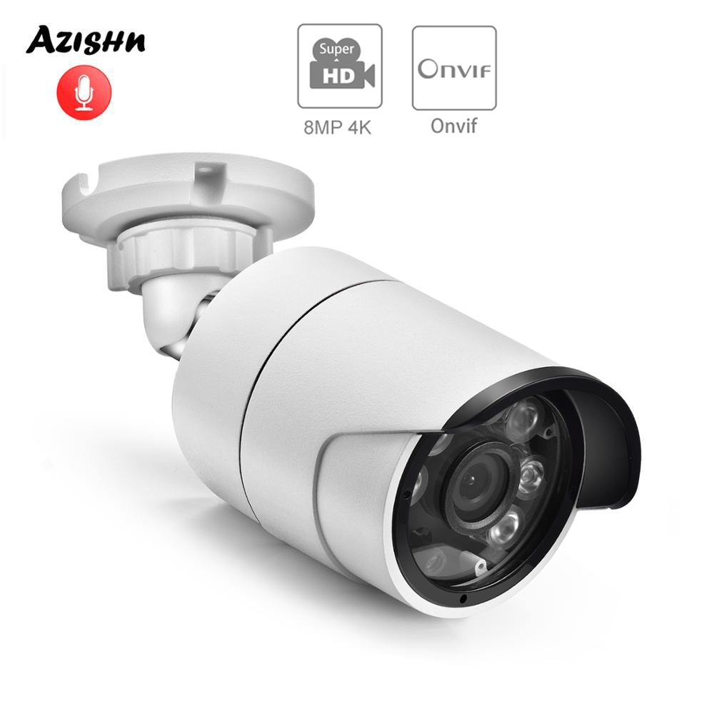 AZISHN H.265+ Audio IP Camera 4K 8MP 1/2.7'' SC8238 ONVIF 6LEDS Outdoor Waterproof POE/DC CCTV Cam Surveillance 2MP/4MP/5MP