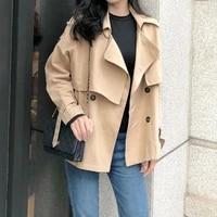 womens autumn new loose double breasted windbreaker womens korean version solid color temperament big lapel short coat fashion