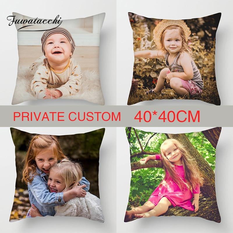 Fuwatacchi 40cm * 40 cm, funda de cojín personalizada Personal, funda de almohada de lino con foto de vida, funda de almohada personalizada, funda de almohada para niños, foto impresa