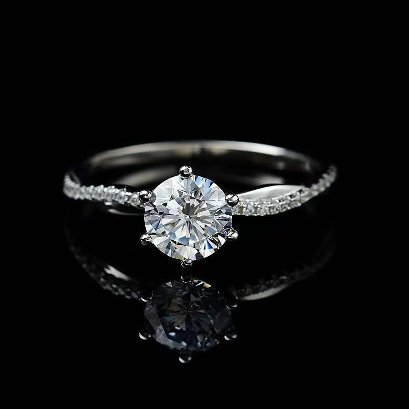 925 silver ring moissanite 1.00ct D VVS GRA Certificat twisted wall style Women's ring  wedding ring  for women