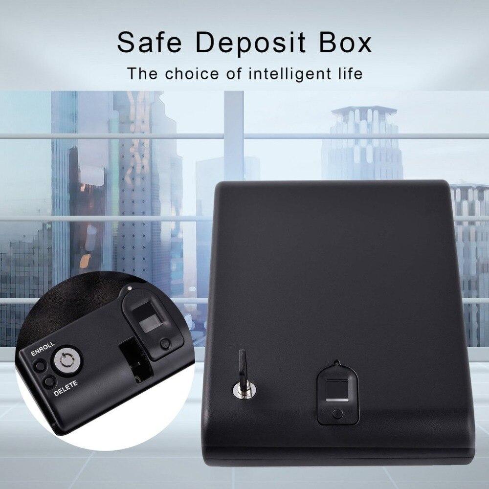 Arma de impressão digital cofres portáteis mini cofres caixa de sensor de segurança caixa de chave cofre para objetos de valor jóias dinheiro