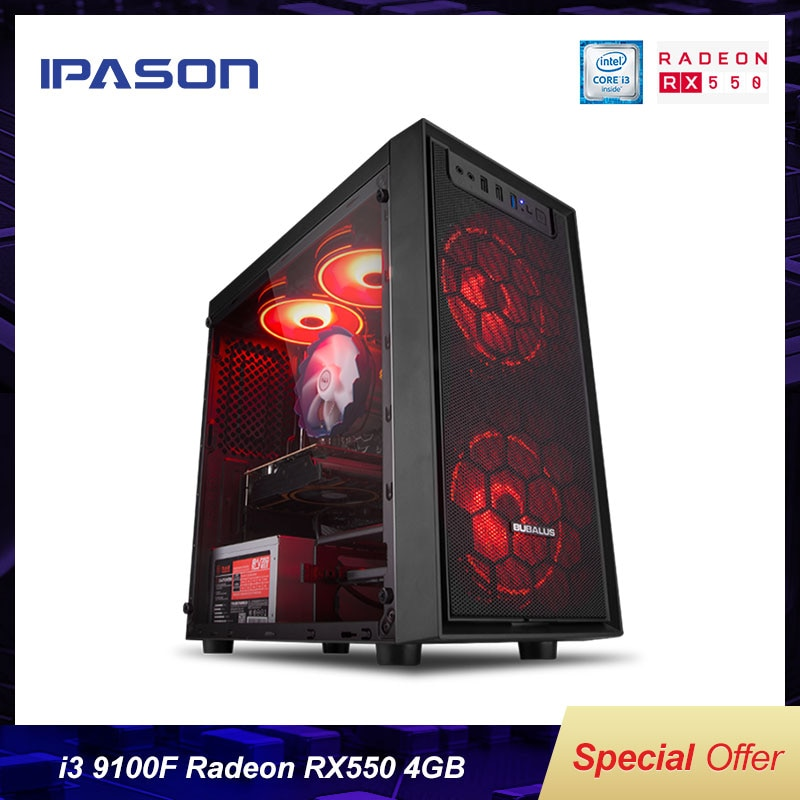 IPASON i3 9100F/RX550 Home Office Desktop Computer 240G SSD 8G RAM DIY Assembly LOL Gaming PC Comple