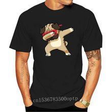 Design Trendy Dabbing Pug Print Men Funny Black T-shirt Short Sleeve Tee Shirt Cartoon Design Tops C