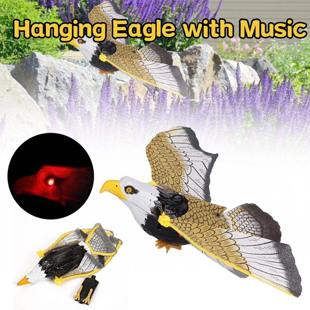 Фото - Новая светящаяся птица с музыкальным репеллентом, подвесная птица, летающая птица, садовое украшение, портативная летающая птица птица