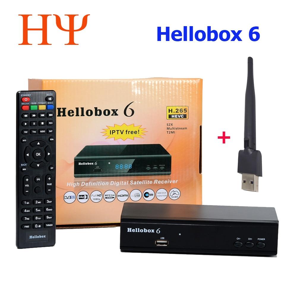 10 قطعة جديد Hellobox 6 استقبال الأقمار الصناعية دعم H.265 HEVC T2MI USB واي فاي Cccam Newcamd IPTV Comptatible V5 Plu