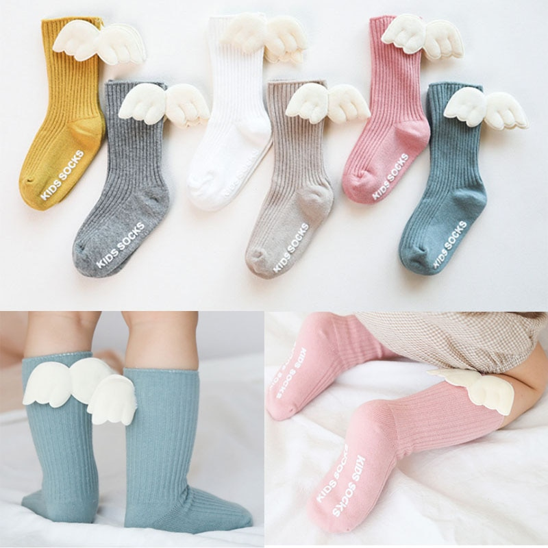 Baby Girls Knee High Socks Angel wing Summer Autumn Cotton Socks Solid Candy Color Kids Toddler Shor