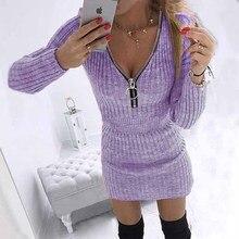 ฤดูใบไม้ร่วงฤดูหนาวซิป V คอชุดผู้หญิงสบายๆแฟชั่นเซ็กซี่แขนยาว Vintage Bodycon ชุดดินสอมินิ