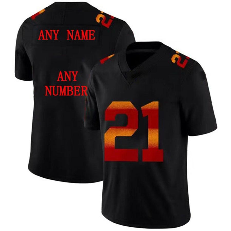 Мужской Регби-трикотаж цвет шрифт CLAYPOOL SMITH-SCHUSTER Регби Джерси 2021 Американский футбол Джерси BURROW Camisade Time-черный
