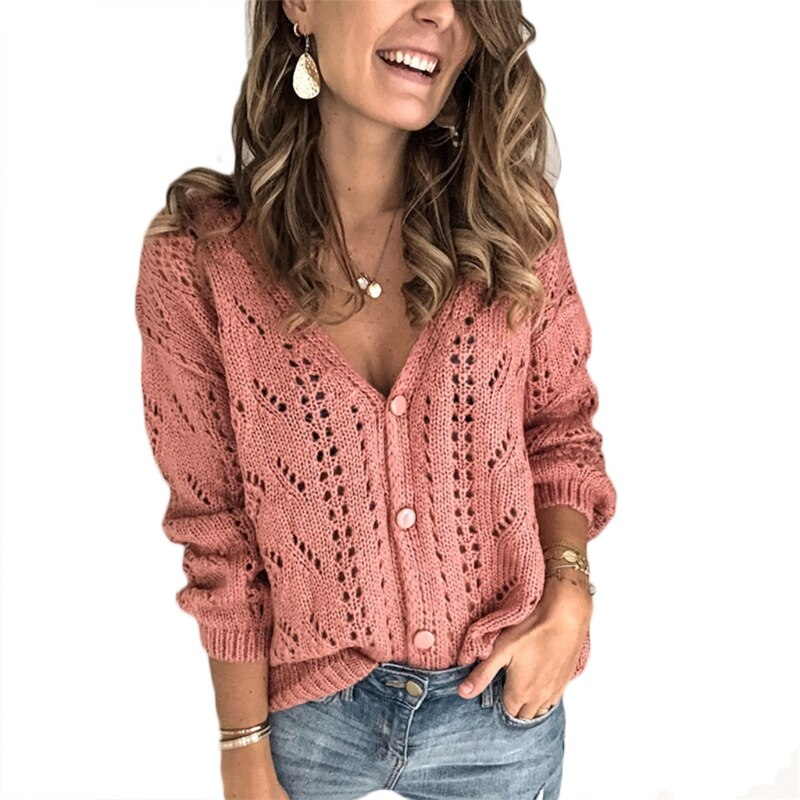 Women Long Sleeve V-Neck Sweater Hollow Out Crochet Knit Button Solid Cardigan enlarge