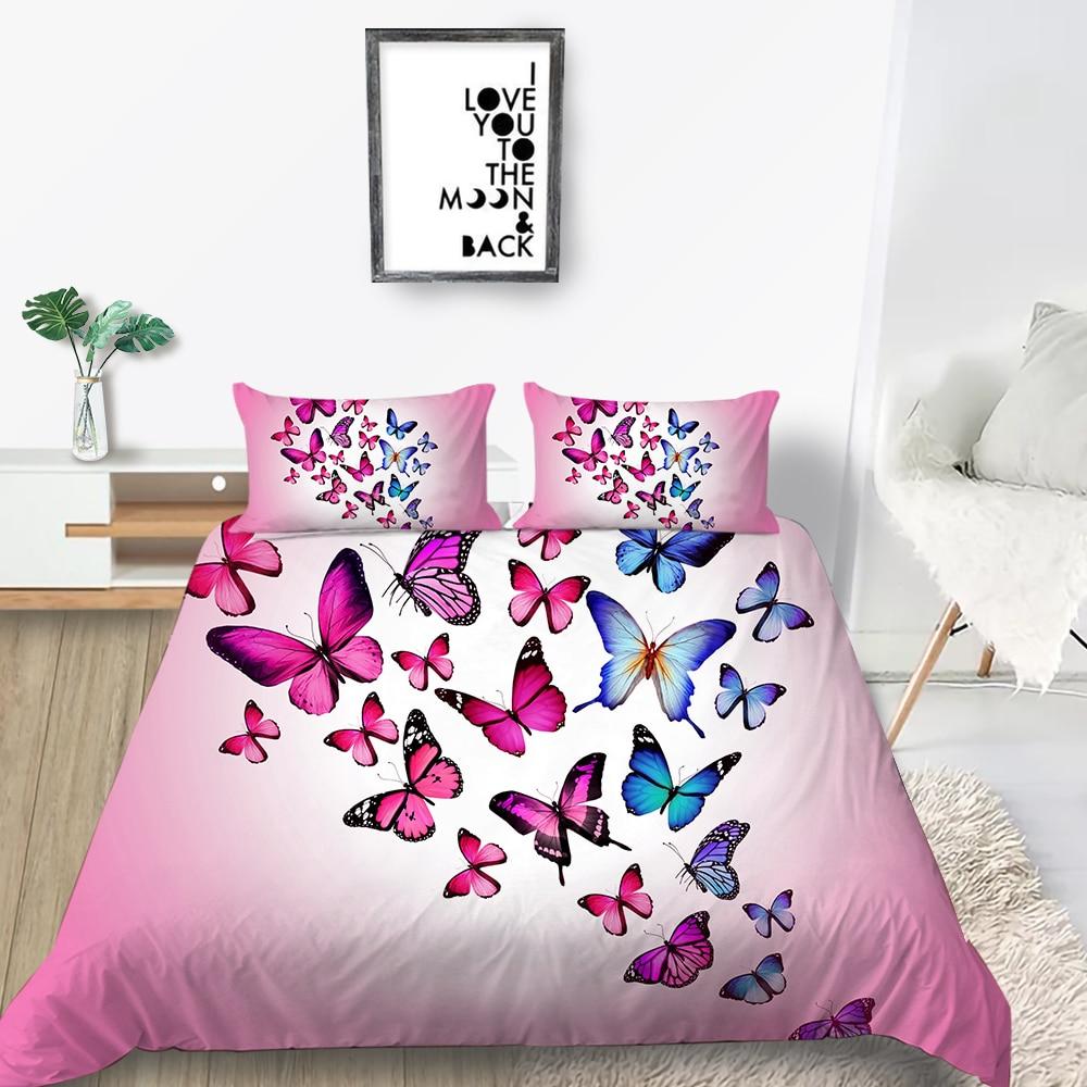 Набор постельного белья с бабочками для девочек, креативный красивый пододеяльник, Королевский Розовый, Королевский, двойной, уникальный д...