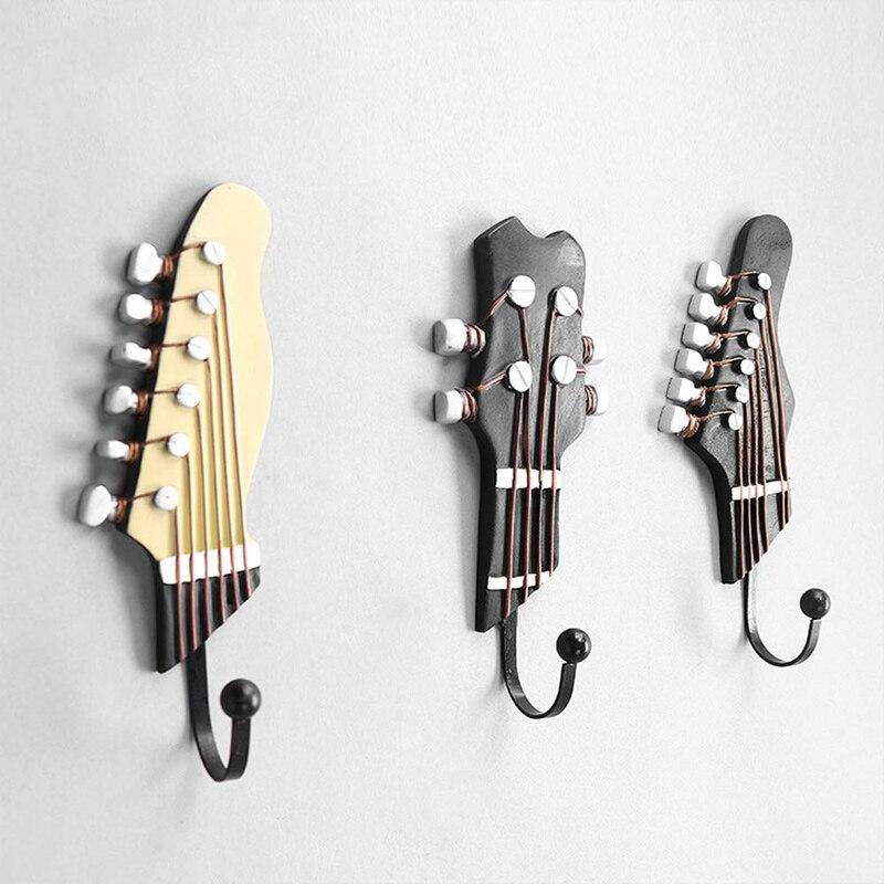3 قطعة/المجموعة الغيتار رؤساء هوك الحائط ل ووتش مفاتيح أشتات حقيبة محفظة هوك الموسيقى المنزل الراتنج الملابس قبعة شماعات هوك