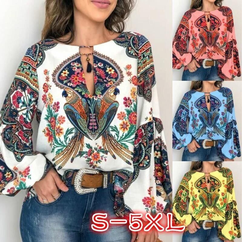 Linterna blusa Camiseta cuello pico S-5XL de gran tamaño largo Floral Boho mujeres manga Tops