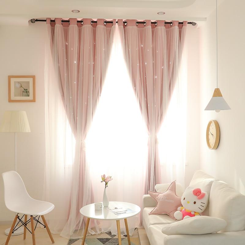 Coreano doble Rosa princesa cortinas para sala de estar hueco estrellas cortina de encaje para dormitorio cortina de tul