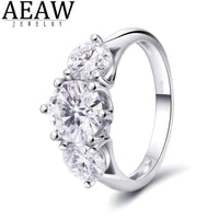 solid 14k white gold main stone 2carat 8mm round excellent cut df color vvs1 moissanite engagement ring halo style for lady gift
