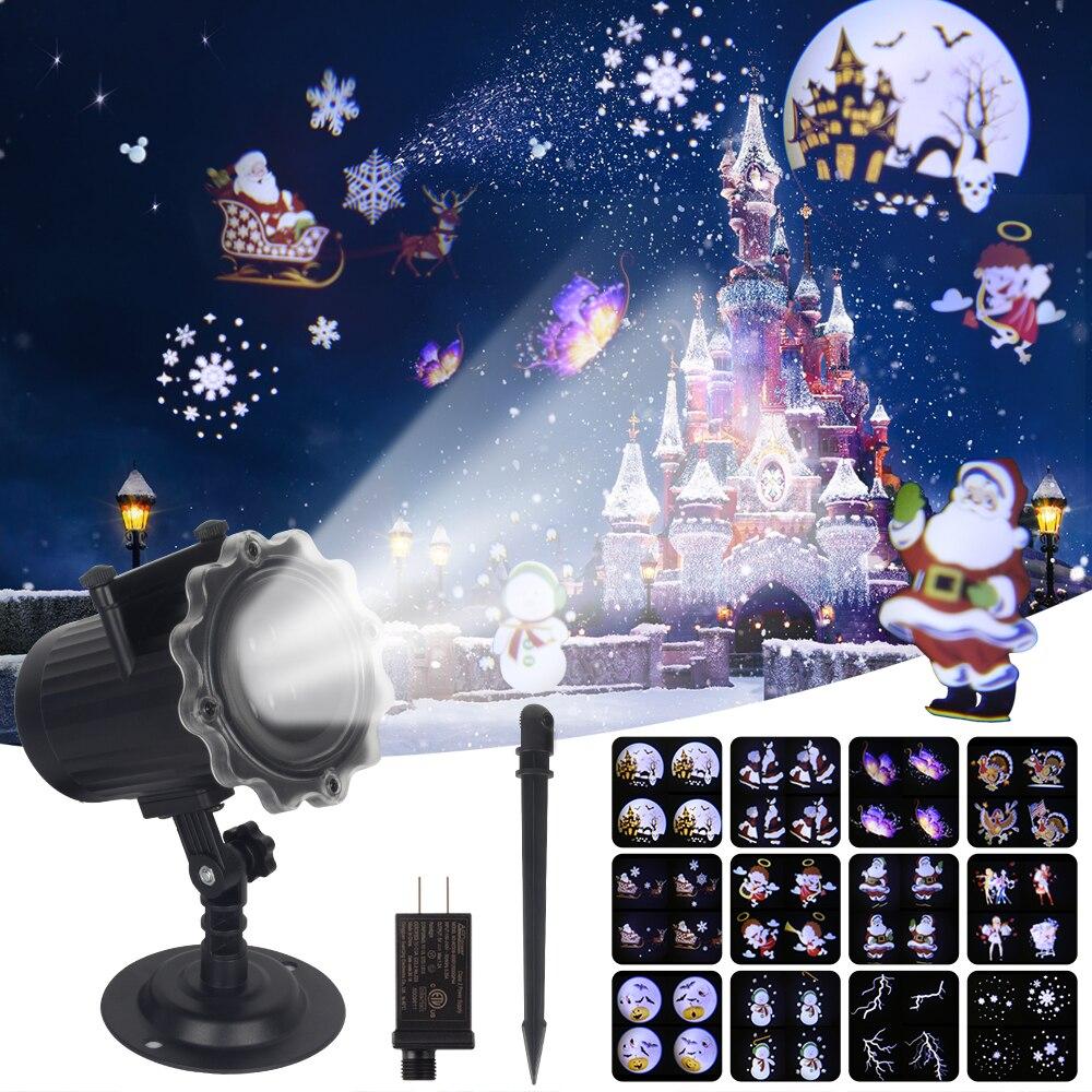 Рождественский лазерный проектор, 12 моделей, проектор Санта-Клаус для помещений и улицы, эффект анимации, Снежинка, снеговик, проектор #