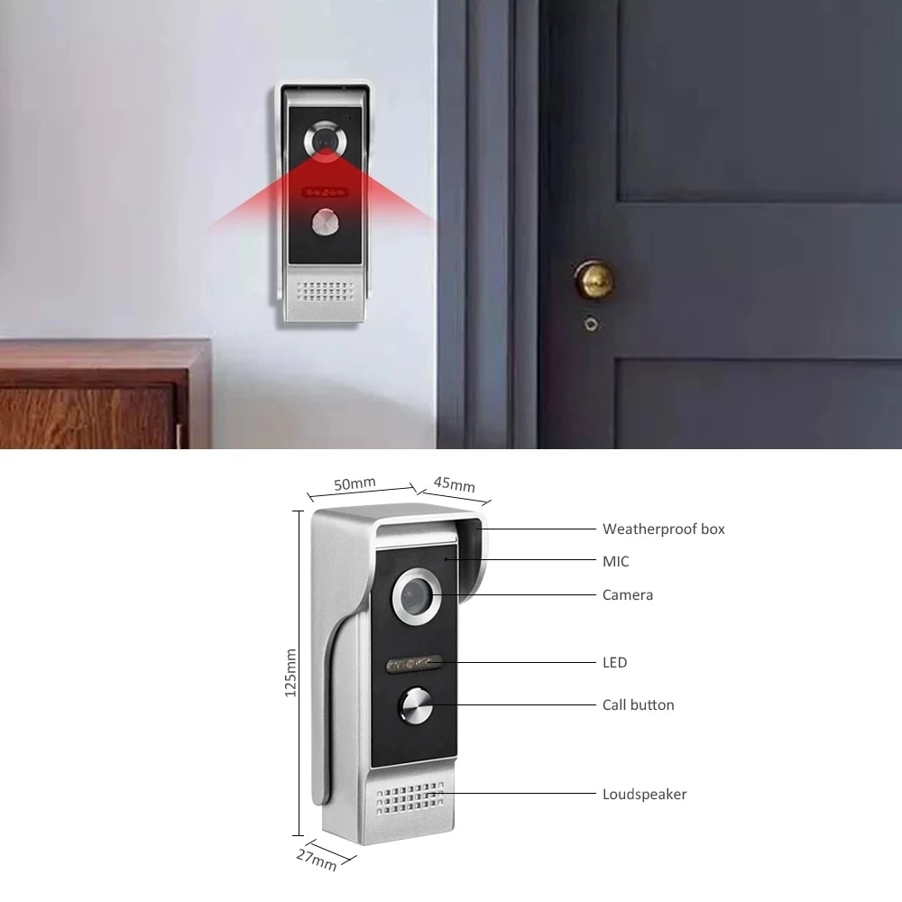 7'' Home Video Door Phone Intercom System Motion Detection Record Waterproof with 32G Memory SD Card Home Access Control System enlarge