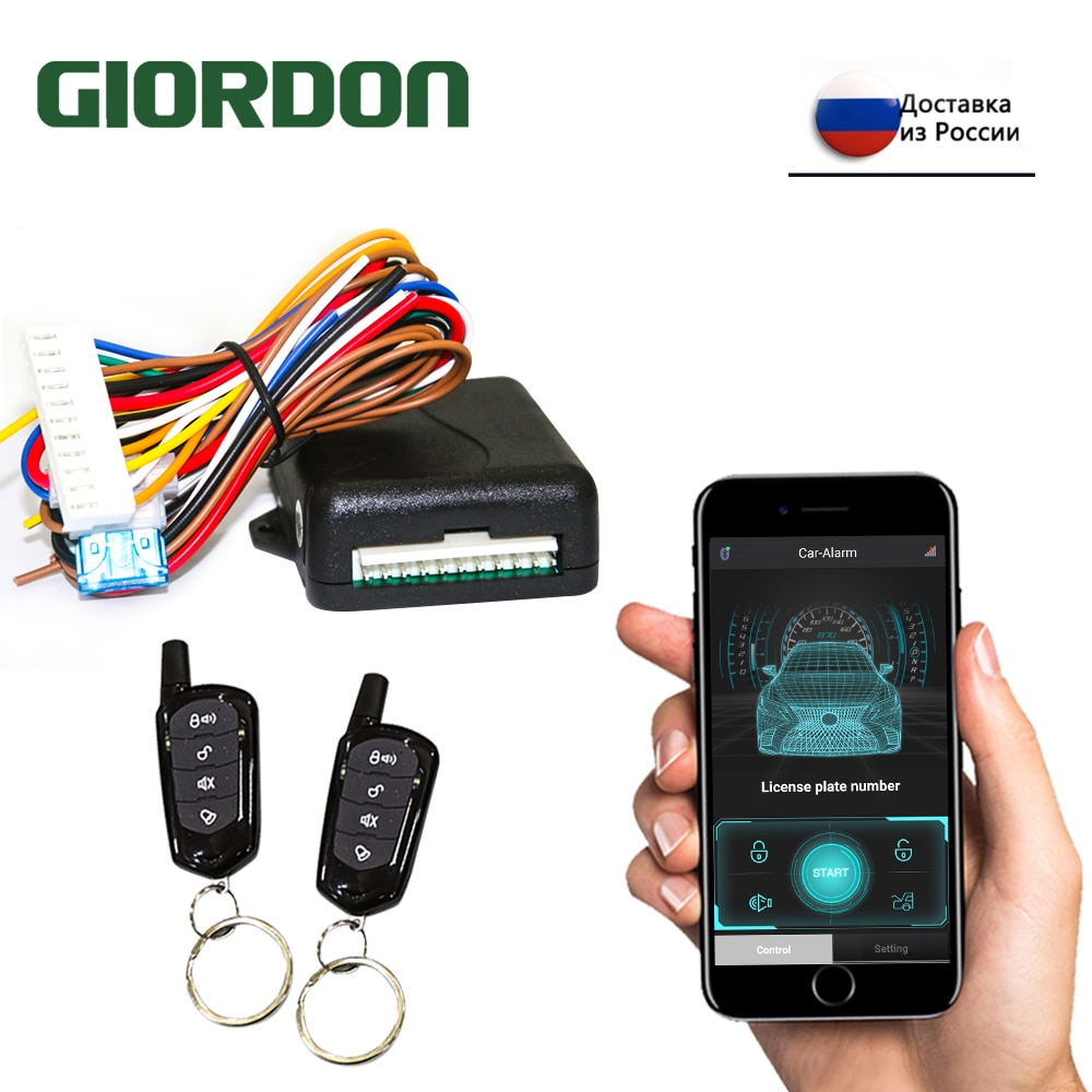 GIORDON Universal Car Alarm Systems Auto Remote Central Kit Door Lock Keyless APP With Remote Contr
