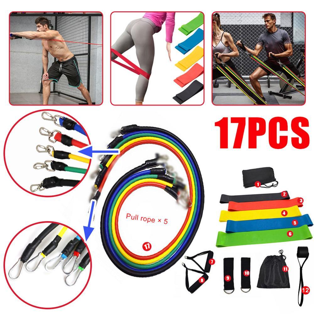 11/17 pçs/conjunto puxar corda exercícios de fitness bandas resistência tubos látex pedal exercitador treinamento do corpo treino yoga