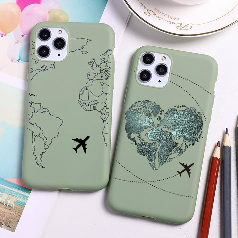 HOTCASHOP World Map Travel Airplane Capa Phone Case for iPhone 12 mini 11 Pro Max X XR XS 8 7 6s Plus Candy green Silicone Cases