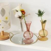 retro glass vase flower transparent brown nordic ins wind simple table art flower insert decorative hydroponics