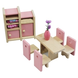 Funny Kids Pretend Play Role Wooden Toy Dollhouse Room Dining Room Simulation Miniature Furniture Doll House Accessories