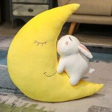 Mignon lune et lapin jouets en peluche pour enfants lune doux en peluche oreiller coussin cadeau danniversaire pour enfants enfants bébé