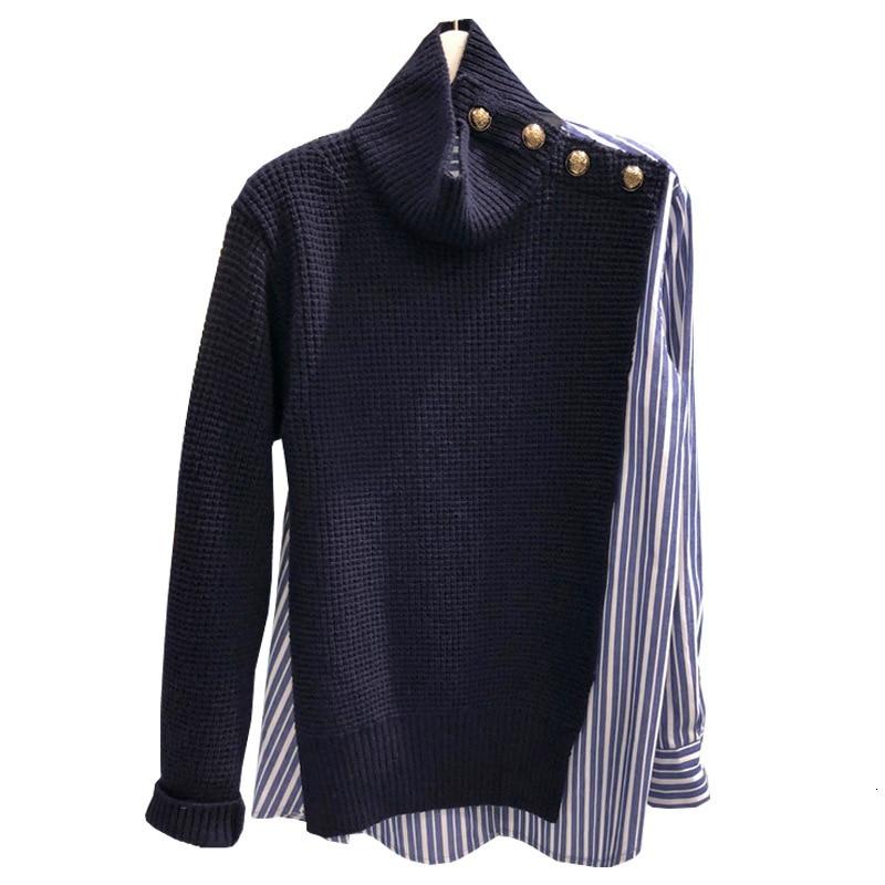 [EWQ] 2020 Spring Autumn  High Quality Stand Collar Long Sleeve Fake Two Piece Streetwear Sweater Women Fashion Tide AH400