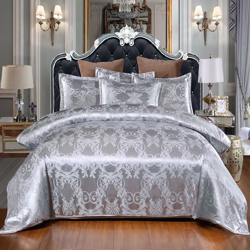 phf yarn dyed duvet cover set lightweight jacquard luxury soft bedding cotton 3 pieces queen size black ivory with corner ties Tribute Silk Europe Floral Printed Bedding Set Luxury Jacquard Duvet Cover Set 220x240 Single Double Queen King Size Quilt Cover