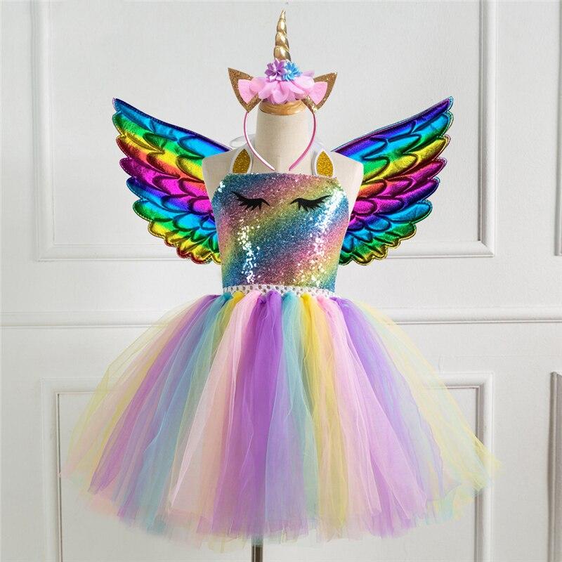 Платье с радужным единорогом для девочек; Костюм на Хэллоуин для детей; Карнавальные вечерние костюмы
