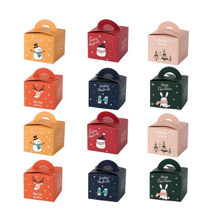 24 caixas de presente bonito do envoltório do favor dos pces christms caixas de doces recipientes de chocolate de papel suportes para o festival
